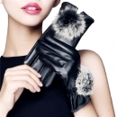 Women's Touchscreen Leather Winter Gloves With Faux Fur Pom-pom